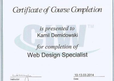 Certyfikat Web Design - Kamil Demidowski - Fox Strategy